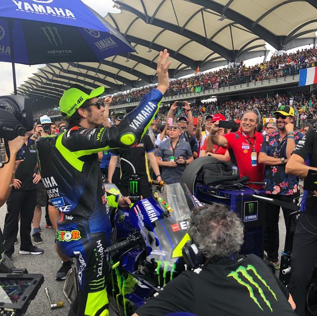 The Doctor has arrived and is hyping up the crowds. . . #MonsterYamaha | #MotoGP...