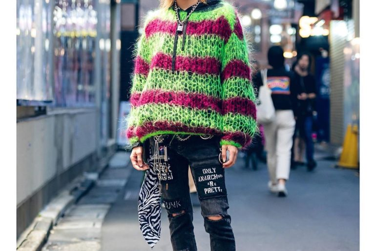 Japanese college student Shusuke (@syusuke_0909) on the street in Harajuku weari...
