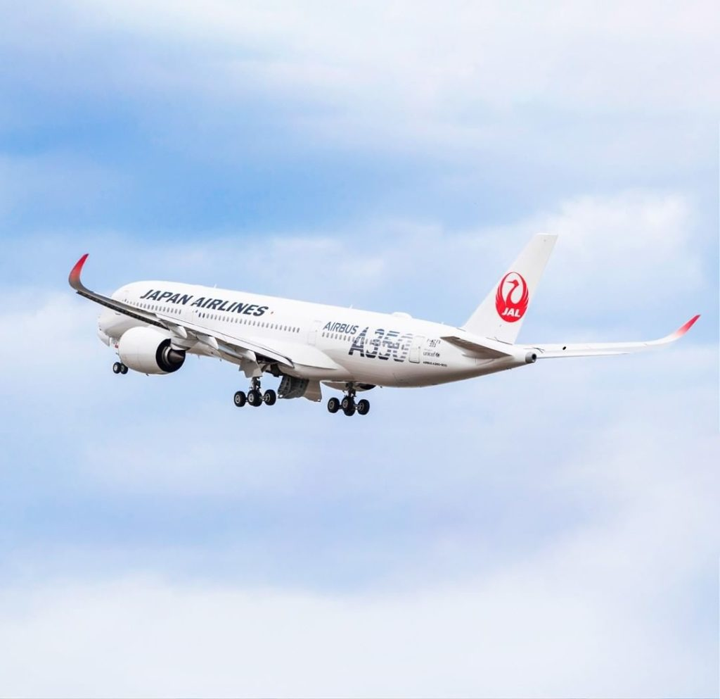 """. Our second #JAL #A350! The silver A350 logo, meant to represent """"Innovation,"""" ..."""
