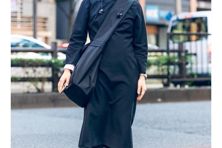 Ruka wearing a monochrome minimalist Japanese street style in Harajuku with a Co...