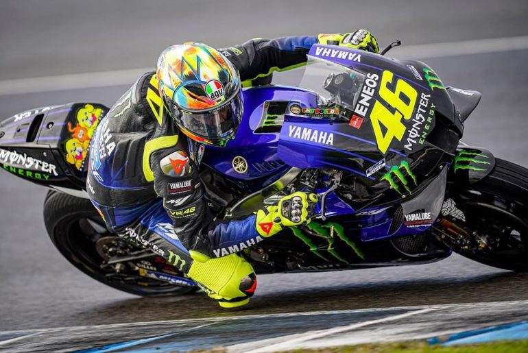 @valeyellow46 didn't let the wet conditions stop him today. He still completed 3...