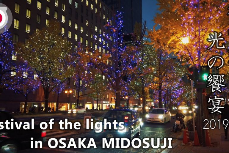 -OSAKA- Festival of the lights in OSAKA Midosuji street from Namba to Umeda [4K] 御堂筋 光の饗宴2019なんばから梅田