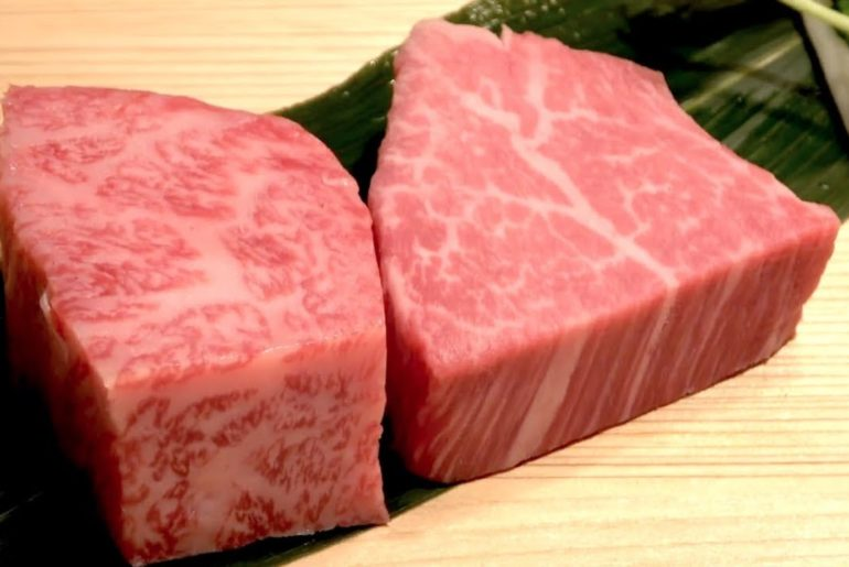 Japanese Wagyu Steak - Japanese food. Satisfying street food. Beef steak in Japan)