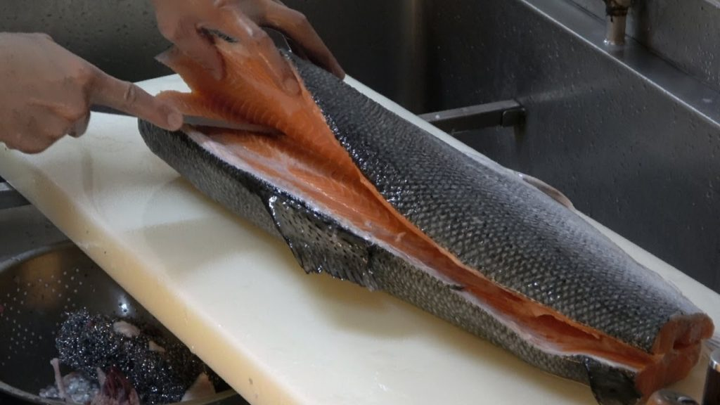 How To Fillet a Whole Salmon for Sashimi and Sushi Series   Street food