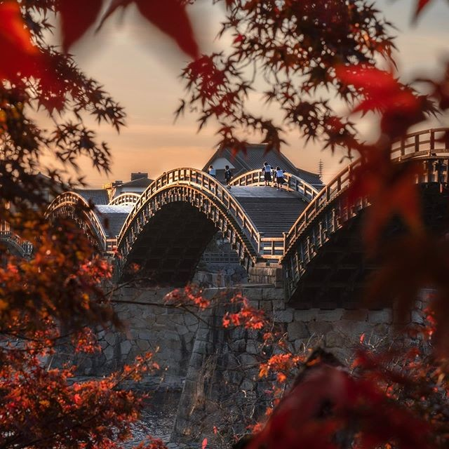 The Kintai-kyo Bridge in Iwakuni is already a marvel of traditional architecture...