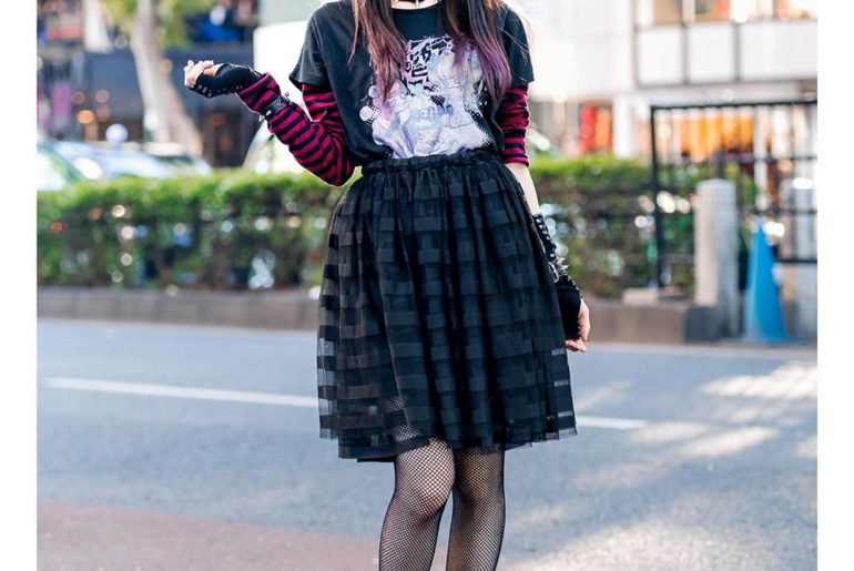 19-year-old Japanese fashion shop staffer Sio (@siomomi_kurage) on the street in...